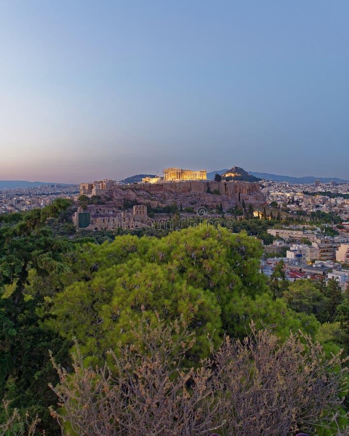 Panoramautsikt för Aten Grekland, parthenon- och akropoli skymningen fotografering för bildbyråer