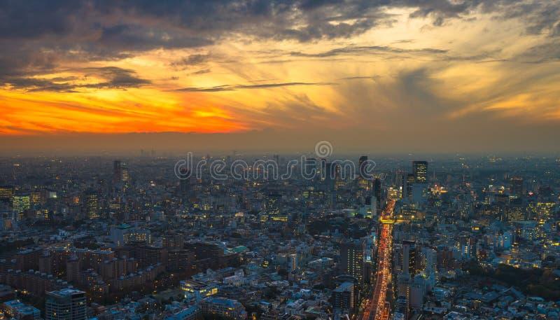 Panoramautsikt för Tokyo solnedgångantenn arkivbild