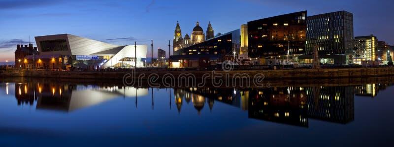 Panoramautsikt från Albert Dock i Liverpool royaltyfria bilder