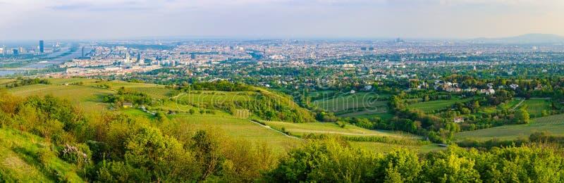 Panoramautsikt från Kahlenberg i Wien, Österrike arkivbilder