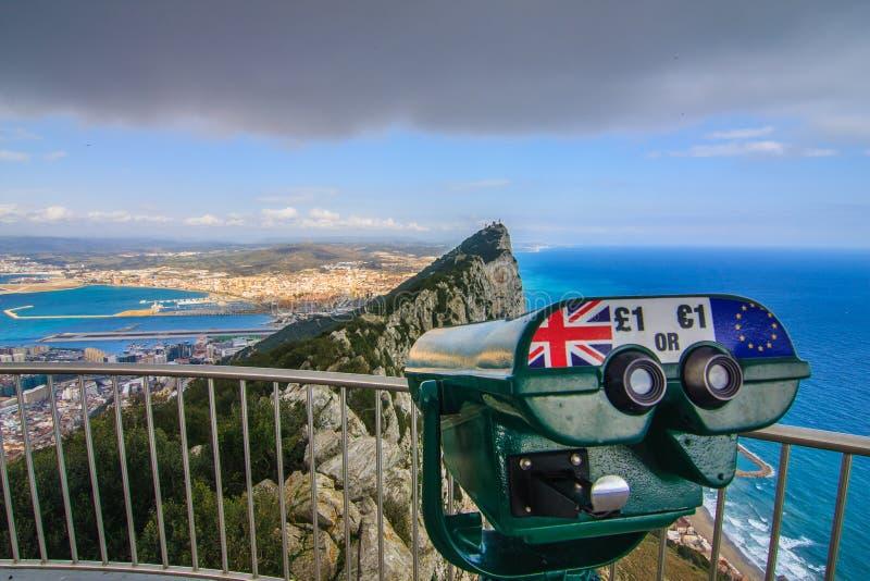 Panoramautsikt från vagga av Gibraltar arkivfoton