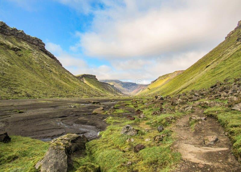 Panoramautsikt inom den stora klyftan av den vulkaniska kanjonen Eldgja Sommar som trekking i högländer av Island, Europa royaltyfria foton