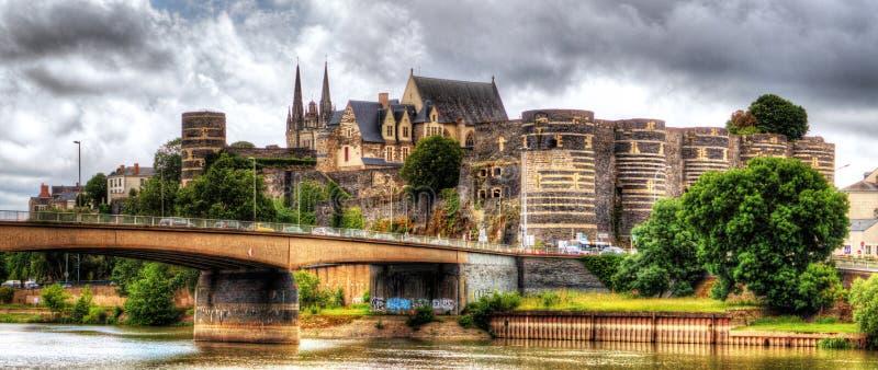 Panoramautsikt på slott av Angers, Frankrike, Loire royaltyfria bilder