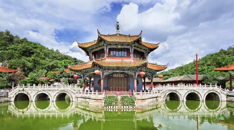 Panoramautsikt på den Yuantong templet, Kunming, Yunnan landskap, Kina arkivfoton