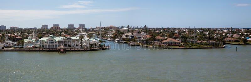 Panoramautsikt som är hövdad på Marco Island, Florida royaltyfri fotografi