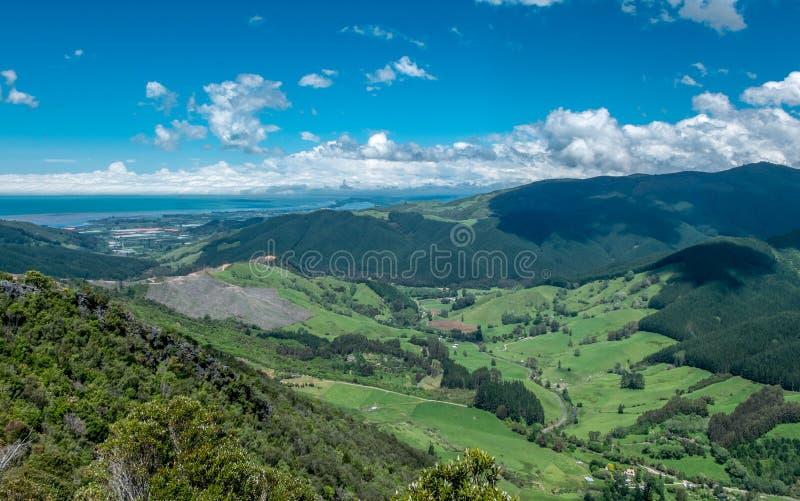 Panoramautsikt som gör grön fält, kullar och havet E royaltyfri fotografi