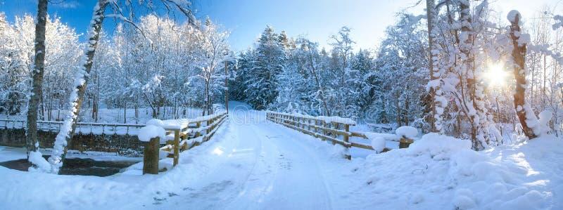 Panoramautsikt som ska överbryggas i vinter royaltyfri bild