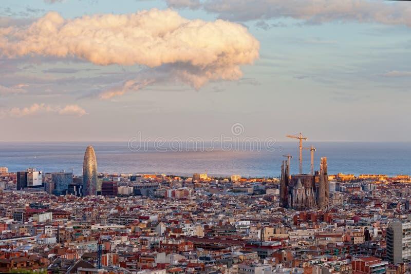 Panoramautsikt till Barcelona arkivbild