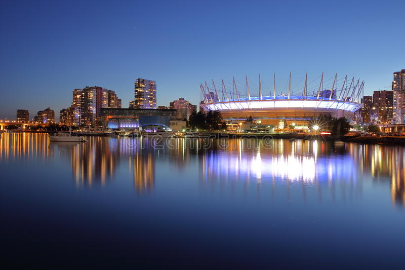 Panoramautsikt till BC Place Stadium Kanada vancouver arkivfoto