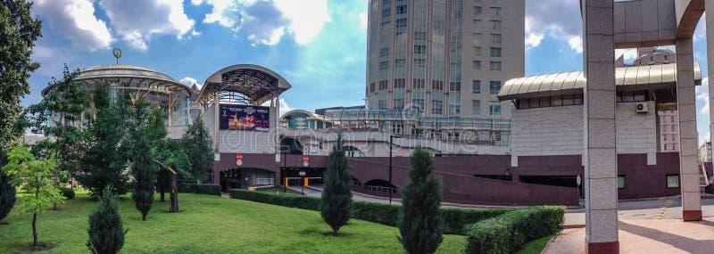 Panoramautsikt till byggande av det internationella huset för Moskva av musik royaltyfri bild