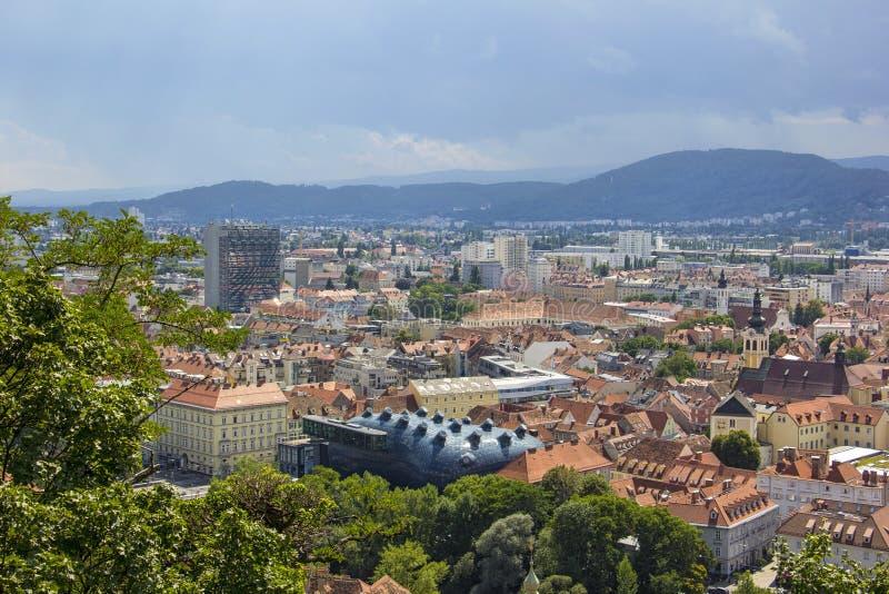 Panoramautsikt till Graz, Österrike fotografering för bildbyråer