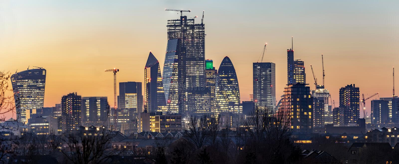 Panoramautsikt till horisonten av staden av London, Förenade kungariket royaltyfria foton