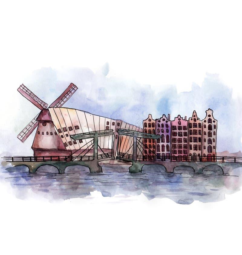 Panoramautsikten av den Amsterdam vattenfärgen vektor illustrationer