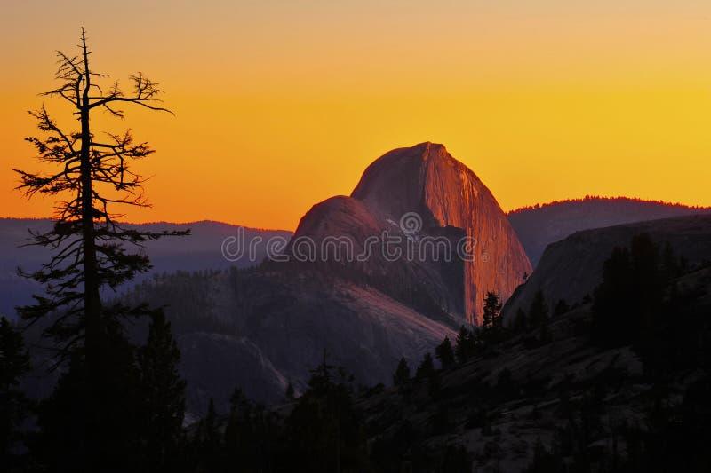 Panoramautsikten av den halva kupolen på solnedgången, nat yosemite parkerar, califoen arkivbilder
