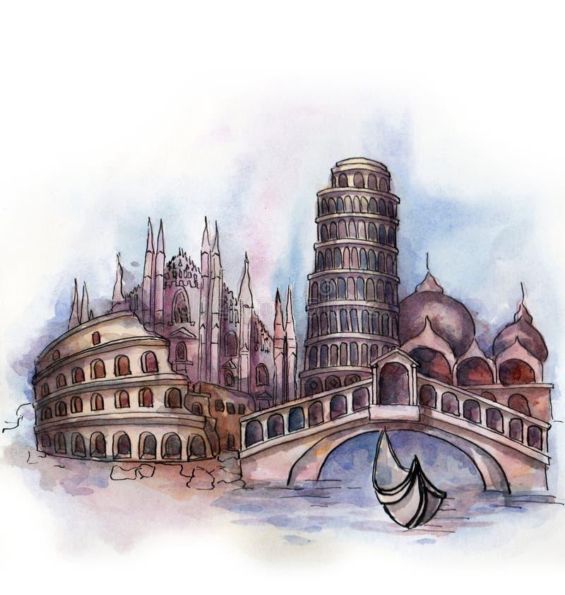 Panoramautsikten av den Italien vattenfärgen royaltyfri illustrationer