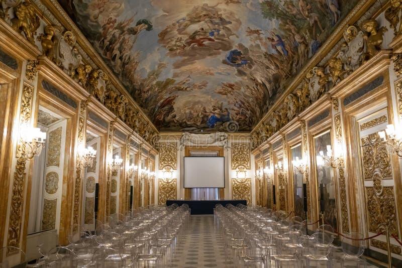 Panoramautsikten av den Palazzo Medici inre, kallade också Palazzo Medici Riccard arkivfoto