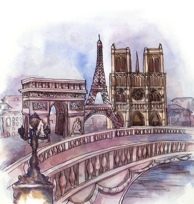 Panoramautsikten av den Paris vattenfärgen stock illustrationer