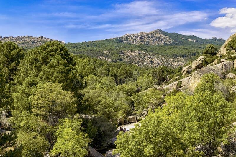 Panoramautsikten av det naturligt parkerar av La Pedriza från en av dess kullar royaltyfri foto