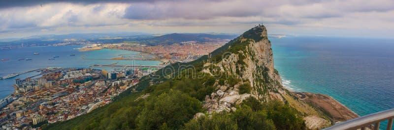 Panoramautsikten från vaggar av Gibraltar arkivfoton