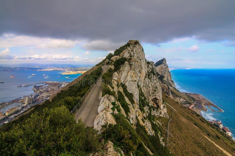 Panoramautsikten från vaggar av Gibraltar royaltyfri foto