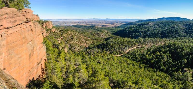 Panoramautsikten i Pinares del naturliga Rodeno parkerar, Spanien fotografering för bildbyråer