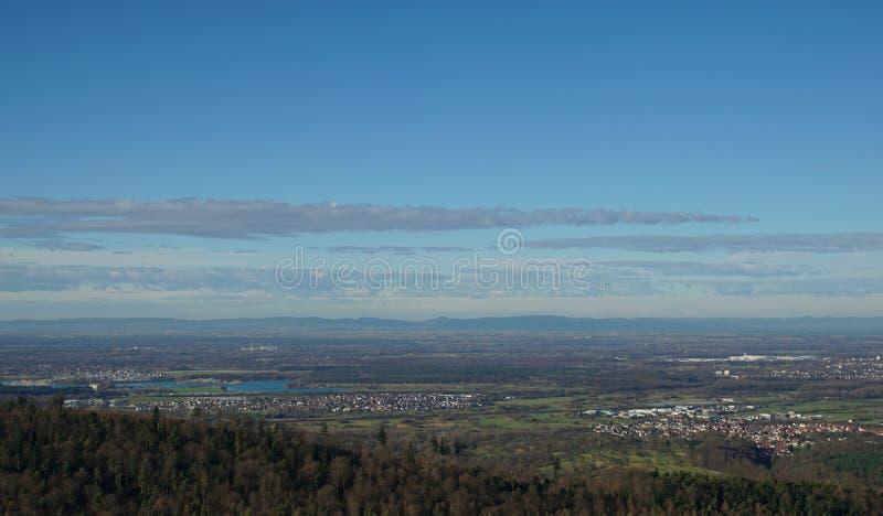 Panoramautsikter av den rhine dalen royaltyfri foto