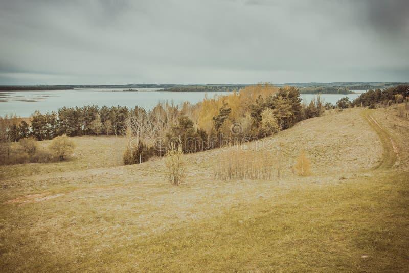 Panoramautsiktkostnad av sjön Braslav _ arkivfoton