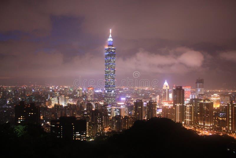 PanoramautsiktTaipei stad vid natten Taiwan arkivfoto
