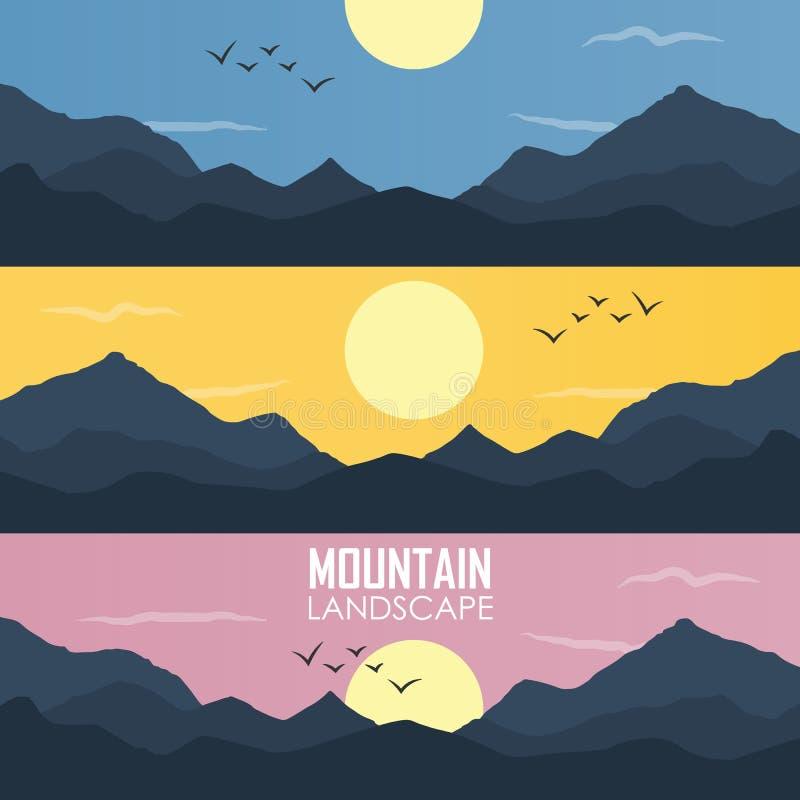 Panoramavektorillustration av bergkanter stock illustrationer