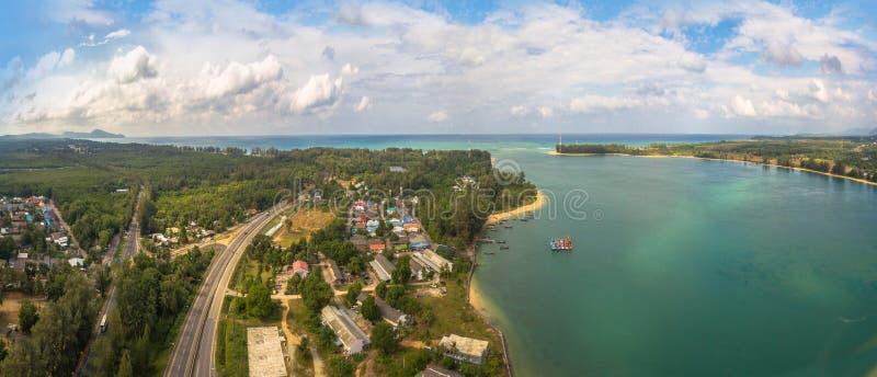 Panoramavogelperspektive Sarasin-Brücke Phuket lizenzfreies stockfoto