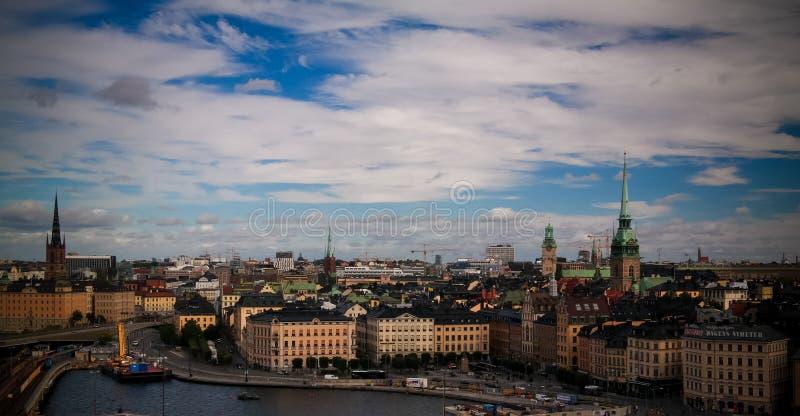 Panoramavogelperspektive zu Stokholm von Katarina-Standpunkt bei Stokholm, Schweden lizenzfreies stockbild