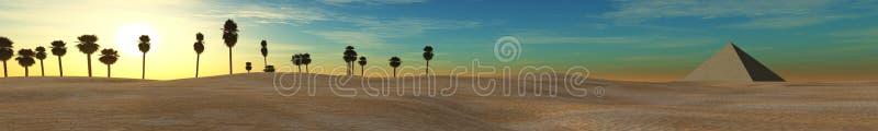 Panoramawüstensonnenuntergang in der Wüste, Pyramide und Palmen, Sonnenuntergang in der Wüste, Pyramide und Palmen stockfotografie