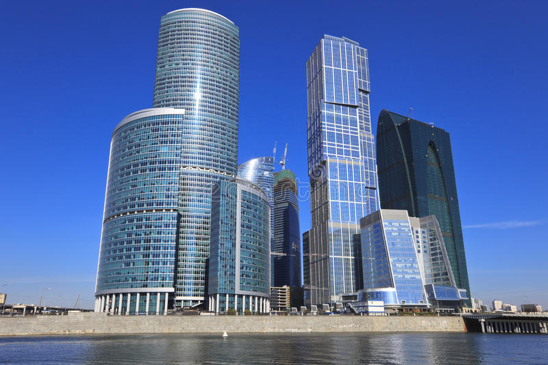 Panorame of business centre Moscow-city. Moscow royalty free stock photos