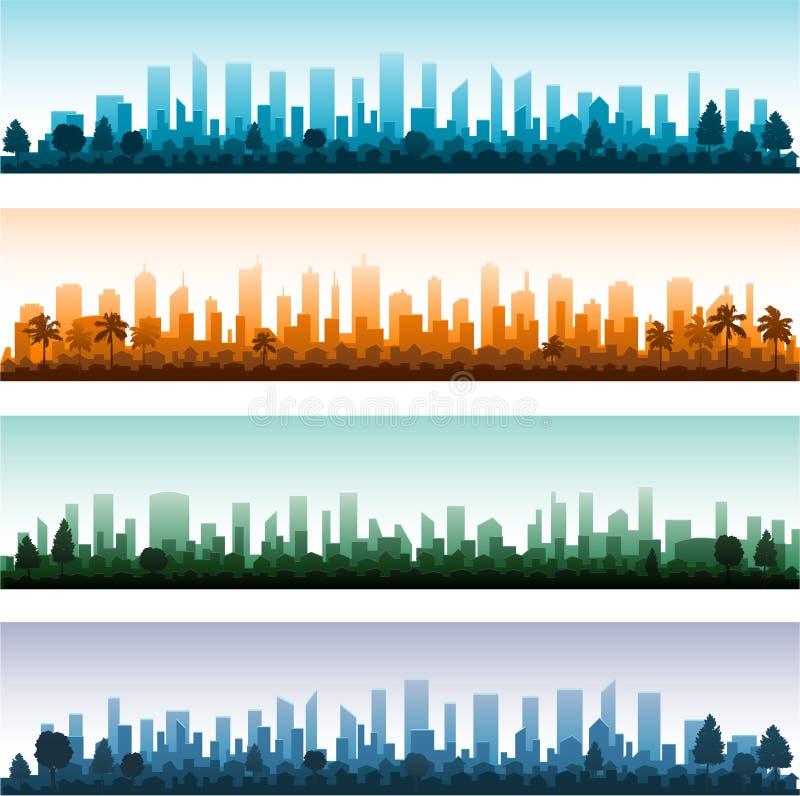 Panoramer för Cityscapesilhouettestad vektor illustrationer