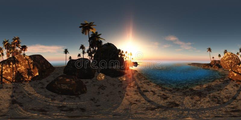 Panoramia della spiaggia tropicale al tramonto fatto con un 360 gradi illustrazione di stock