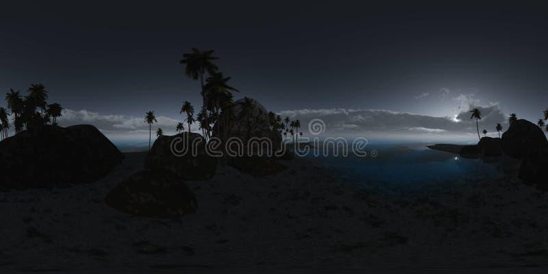 Panoramia della spiaggia tropicale alla notte fatto con un 360 gradi illustrazione vettoriale