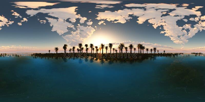 Panoramia della spiaggia tropicale fatto con un lense da 360 gradi immagine stock libera da diritti