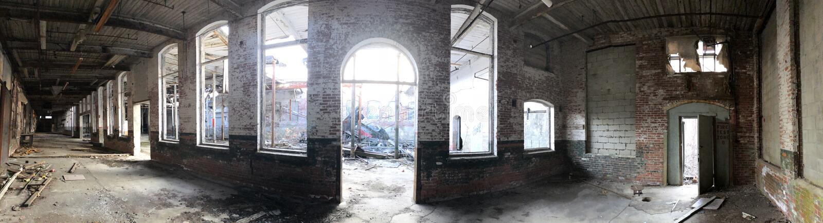 Panoramic Abandonment. Panoramic sweep of an abandoned building found in Lincoln stock photography