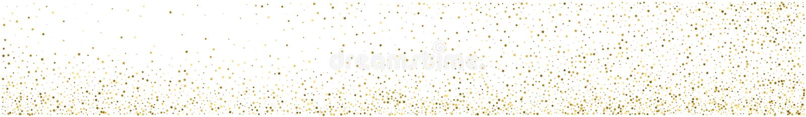 Panoramic abstract background. Gold star confetti. Gold star confetti. Panoramic abstract white and gold background. Horizontal view for a glass panels - skinali stock illustration