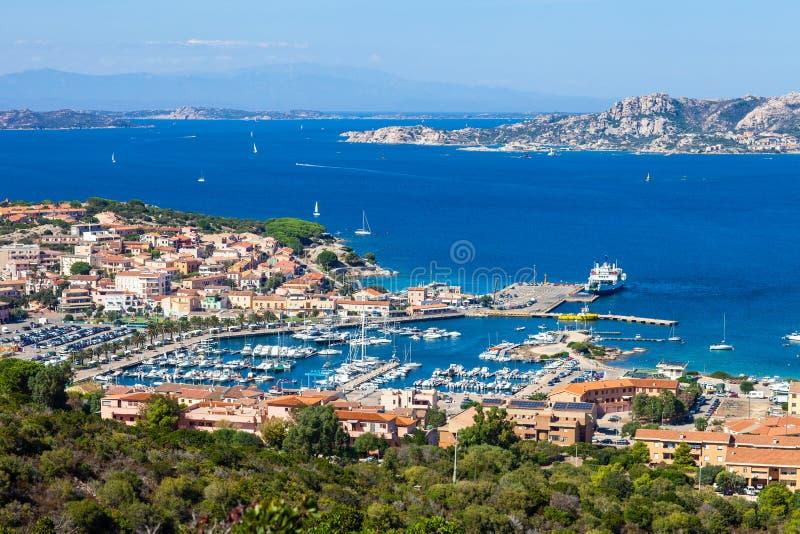Panoramic aerial cityscape of Palau and mediterranean sea in Sardinia island. Italy stock image