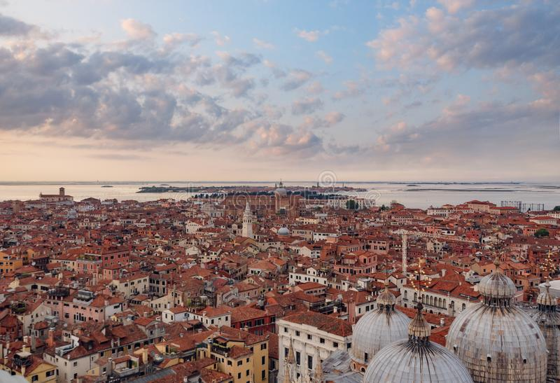 Panoramic aerial cityscape of, Venice, Italy stock photo