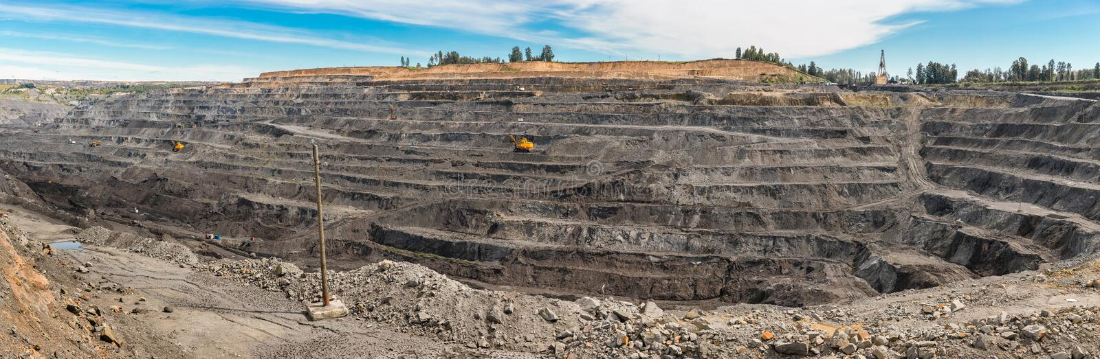Panoramic aerial view of abandoned coal mine. Canned quarry. Open coal mining, Antarcite mining. Pit on coal mining by open way royalty free stock images