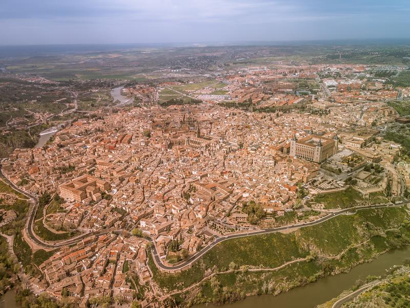 Toledo aerial view , Spain. Panoramic aerial view of ancient city of Toledo, Spain royalty free stock photography
