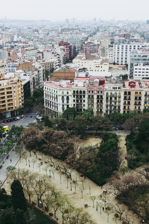 Download Panoramic Aerial View Of Barcelona, Spain Stock Photo - Image: 83723396