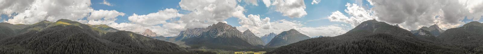 Panoramic aerial view of beautiful alpin mountains scenario stock images