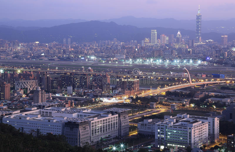 Panoramic aerial view of busy Taipei city royalty free stock images