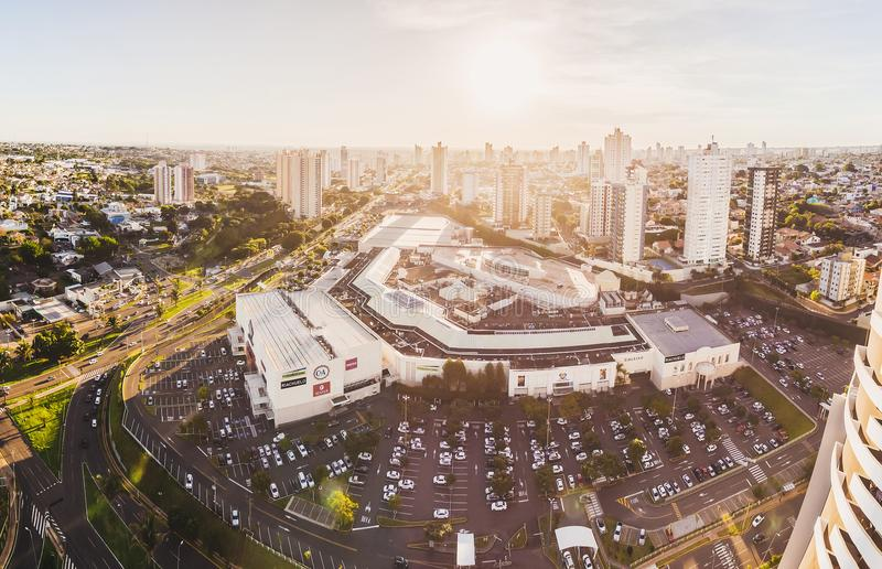Panoramic aerial view from the city, the main avenue and the Shopping Campo Grande on a sunset. royalty free stock photo