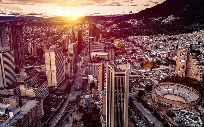 Panoramic aerial view of downtown Bogota Colombia A stock image