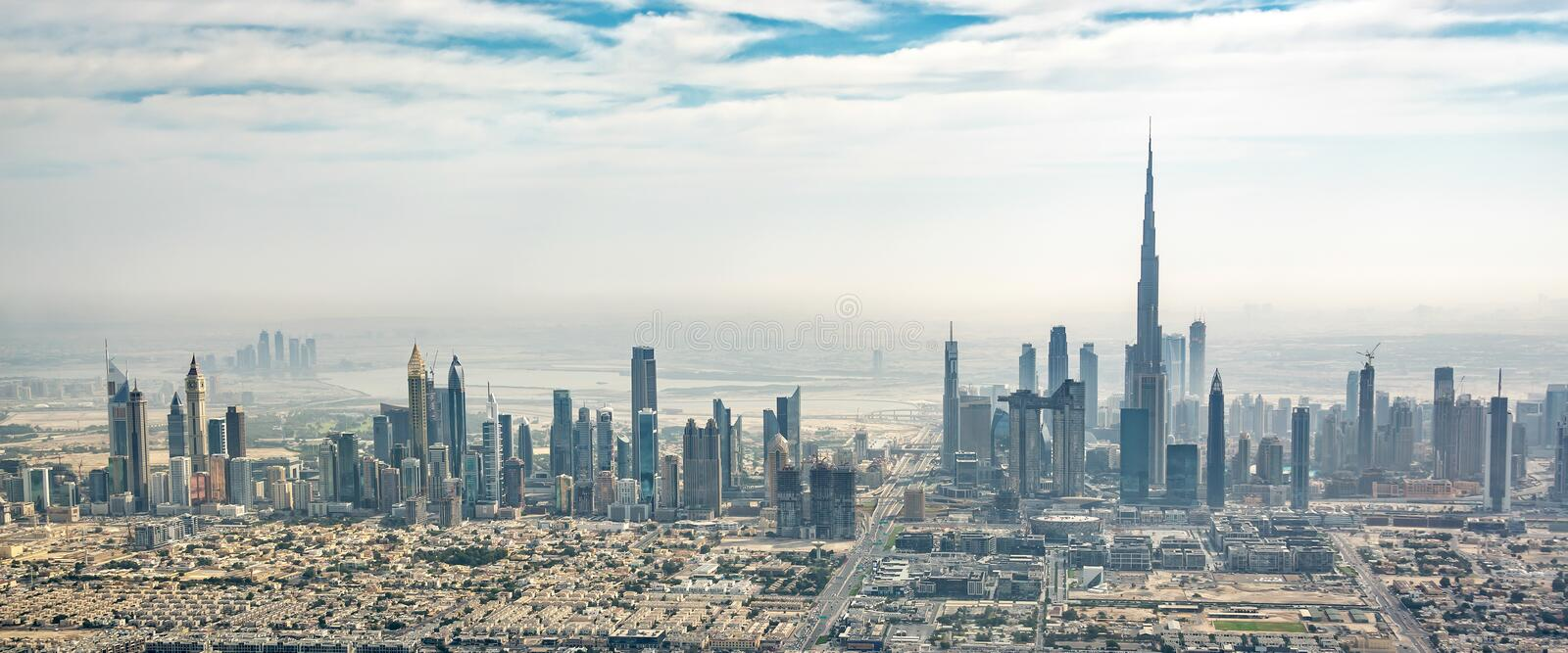 Panoramic aerial view of Dubai skyline, UAE stock images