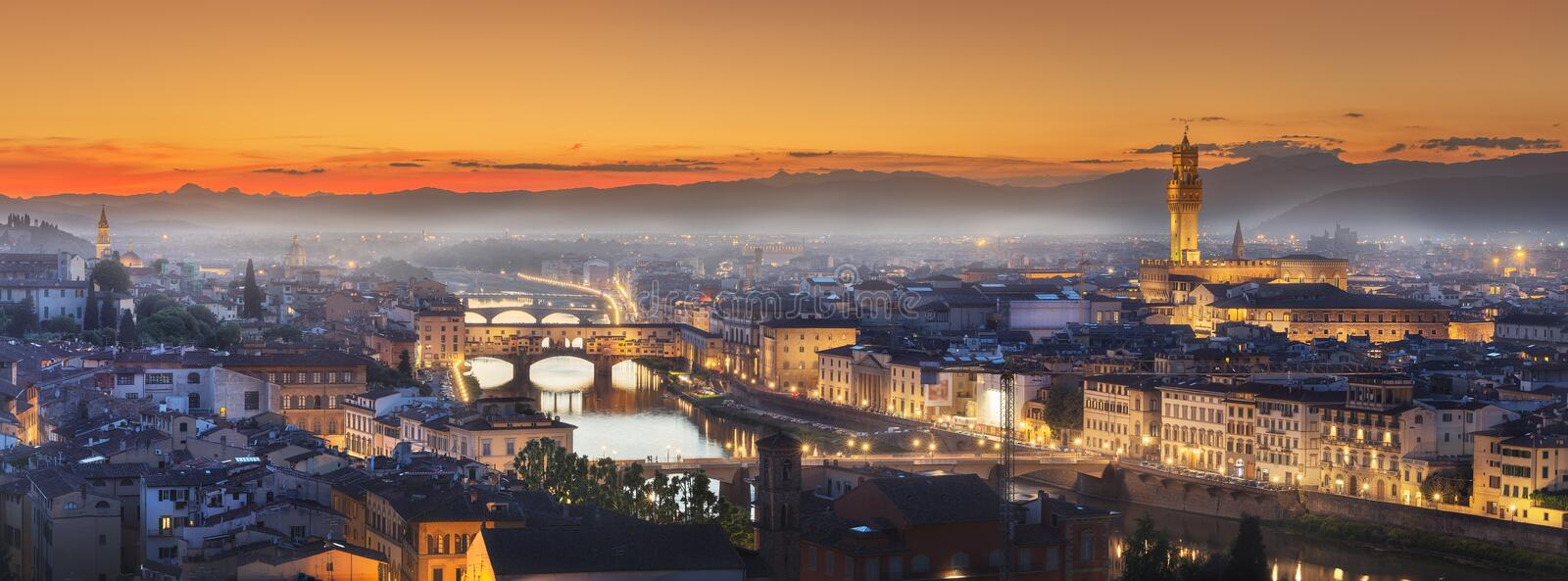 Arno River and bridges at sunset Florence, Italy royalty free stock images